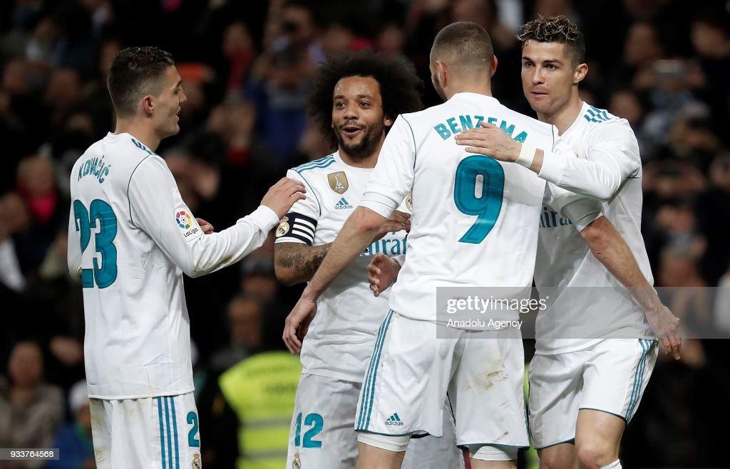 45c866ccf1d2 Cristiano Ronaldo of Real Madrid celebrates with Marcelo Vieira ...