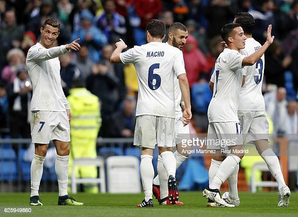 Cristiano Ronaldo of Real Madrid celebrates with Nacho Fernandez after scoring their team's second goal during the La Liga match between Real Madrid...