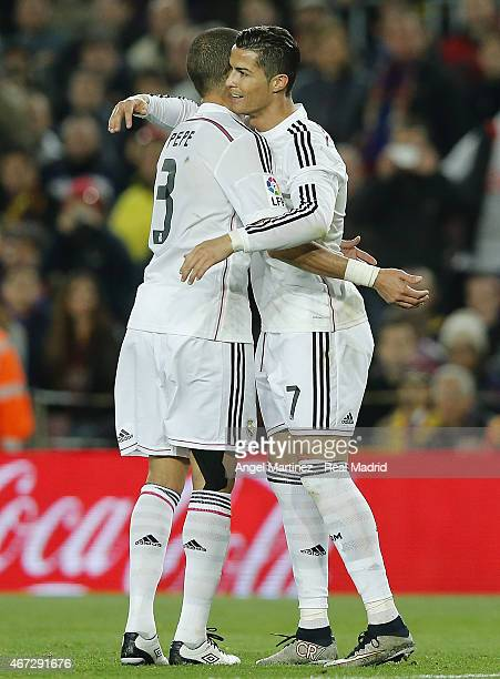 Cristiano Ronaldo of Real Madrid celebrates with Pepe their first and equalising goal during the La Liga match between FC Barcelona and Real Madrid...