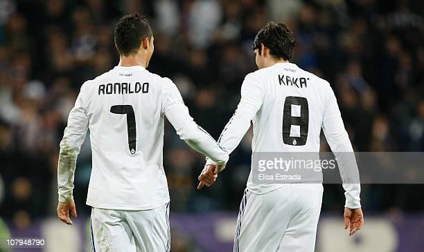 Cristiano Ronaldo of Real Madrid celebrates with Ricardo Kaka during the La Liga match between Real Madrid and Villarreal at Estadio Santiago...