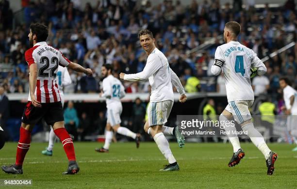 Cristiano Ronaldo of Real Madrid celebrates with Sergio Ramos after scoring their equalising goal during the La Liga match between Real Madrid and...