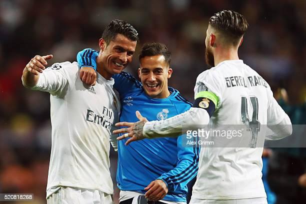 Cristiano Ronaldo of Real Madrid celebrates with team mates Lucas Vazquez and Sergio Ramos after the UEFA Champions league Quarter Final Second Leg...