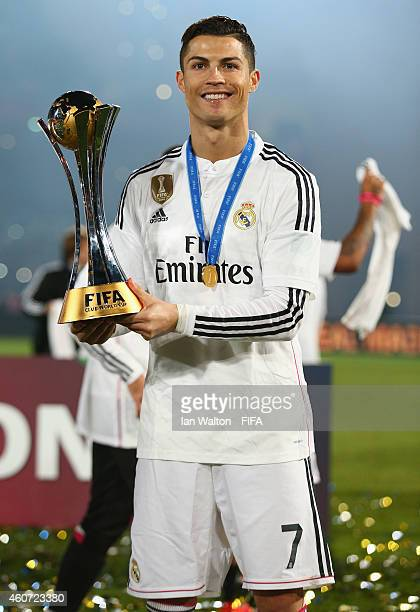 Cristiano Ronaldo of Real Madrid celebrates with the trophy after the FIFA Club World Cup Final between Real Madrid and San Lorenzo at Marrakech...