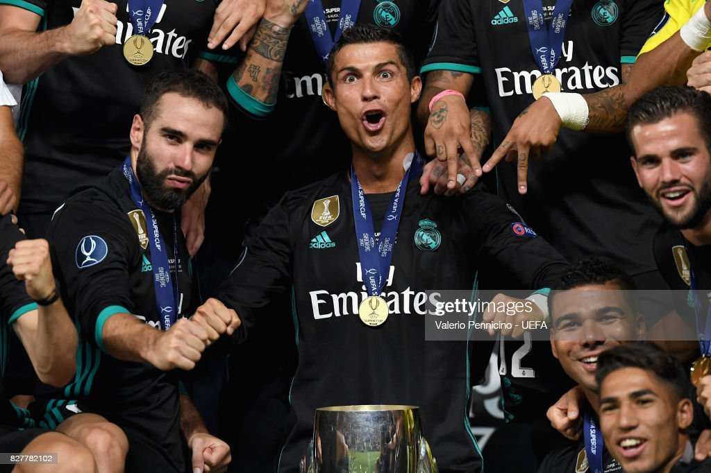 Cristiano Ronaldo of Real Madrid celebrates with UEFA Super Cup trophy after the UEFA Super Cup final between Real Madrid and Manchester United at the Philip II Arena on August 8, 2017 in Skopje, Macedonia.
