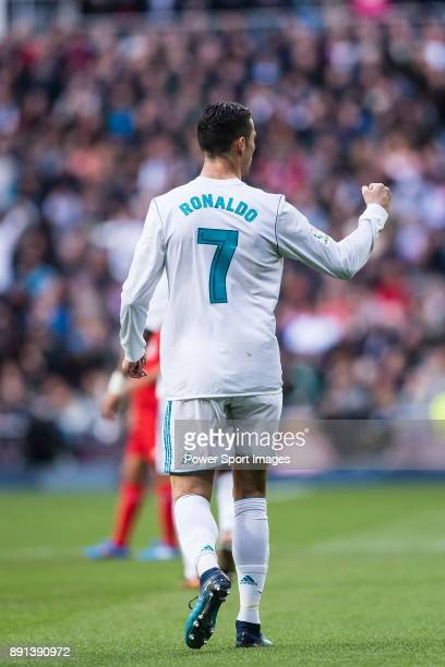 Cristiano Ronaldo of Real Madrid celebrating his score during the La Liga 201718 match between Real Madrid and Sevilla FC at Santiago Bernabeu...