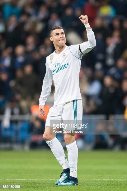 Cristiano Ronaldo of Real Madrid celebrating his score during the Europe Champions League 201718 match between Real Madrid and Borussia Dortmund at...