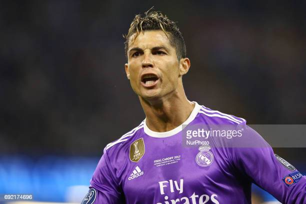 Cristiano Ronaldo of Real Madrid celebrating the score during the UEFA Champions League Final between Juventus and Real Madrid at National Stadium of...
