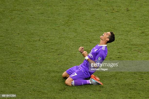 Cristiano Ronaldo of Real Madrid celerbrates victory after the UEFA Champions League Final between Juventus and Real Madrid at National Stadium of...