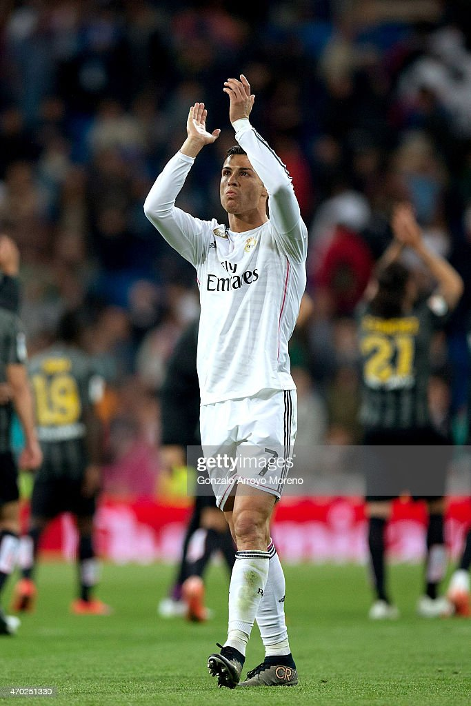Cristiano Ronaldo of Real Madrid CF after the La Liga match between Real Madrid CF and Malaga CF at Estadio Santiago Bernabeu on April 18, 2015 in Madrid, Spain.