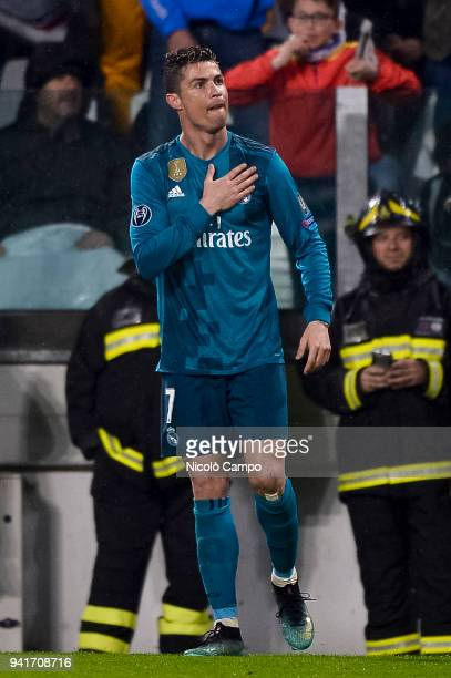 Cristiano Ronaldo of Real Madrid CF celebrates after scoring a goal during the UEFA Champions Quarter Final Leg One match between Juventus FC and...