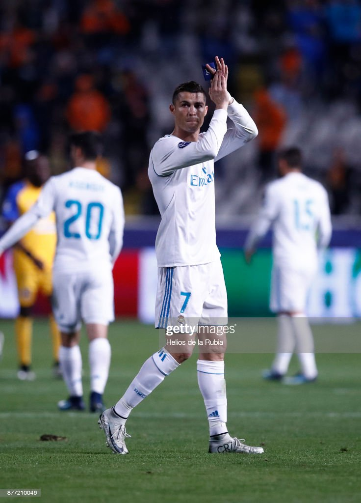 Cristiano Ronaldo of Real Madrid CF celebrates after scoring during the UEFA Champions League group H match between APOEL Nikosia and Real Madrid at GSP Stadium on November 21, 2017 in Nicosia, Cyprus.