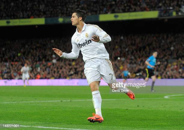 Cristiano Ronaldo of Real Madrid CF celebrates after scoring his team's 2nd goal during the La Liga match between FC Barcelona and Real Madrid CF at...