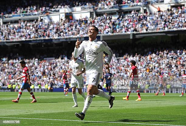 Cristiano Ronaldo of Real Madrid CF celebrates after scoring his team's 3rd goal during the La Liga match between Real Madrid CF and Granada CF at...