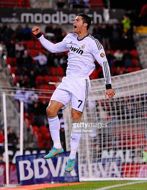 Cristiano Ronaldo of Real Madrid CF celebrates after scoring his team's fourth goal during the La Liga match between RCD Mallorca and Real Madrid CF...