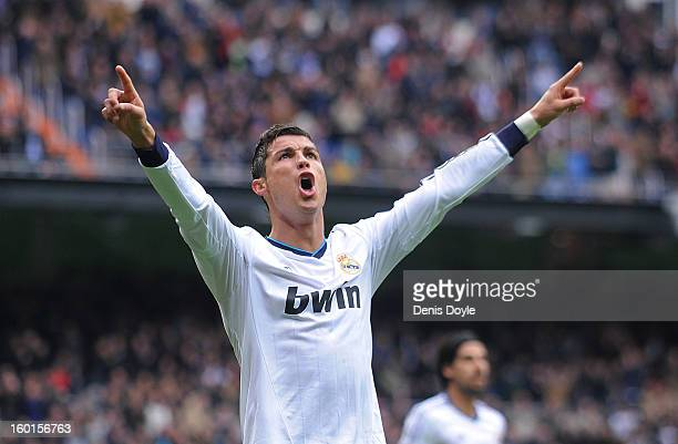 Cristiano Ronaldo of Real Madrid CF celebrates after scoring his team's third goal during the La Liga match between Real Madrid CF and Getafe CF at...
