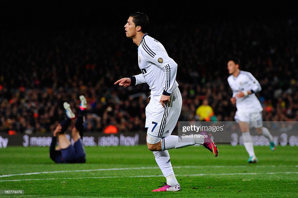 Cristiano Ronaldo of Real Madrid CF celebrates after scoring his team's second goal during the Copa del Rey Semi Final second leg between FC Barcelona and Real Madrid at Camp Nou on February 26, 2013 in Barcelona, Spain.