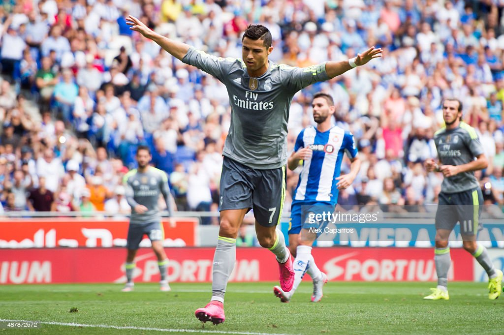 Cristiano Ronaldo of Real Madrid CF celebrates after scoring his team's second goal during the La Liga match between RCD Espanyol and Real Madrid CF at Cornella-El Prat Stadium on September 12, 2015 in Barcelona, Spain.
