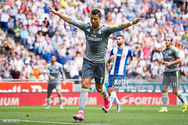 Cristiano Ronaldo of Real Madrid CF celebrates after scoring his team's second goal during the La Liga match between RCD Espanyol and Real Madrid CF...