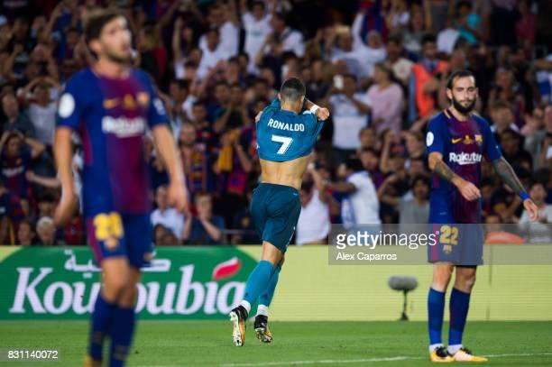 Cristiano Ronaldo of Real Madrid CF celebrates after scoring his team's second goal during the Supercopa de Espana Supercopa Final 1st Leg match...