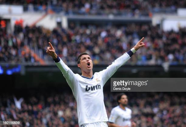 Cristiano Ronaldo of Real Madrid CF celebrates after scoring Real's 3rd goal during the La Liga match between Real Madrid CF and Getafe CF at estadio...