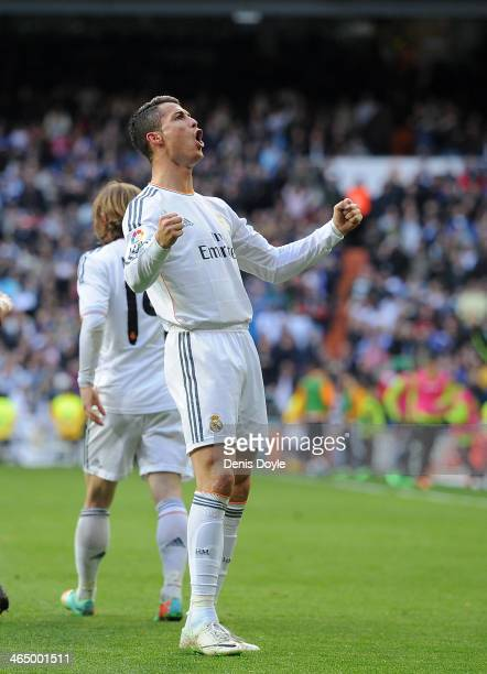 Cristiano Ronaldo of Real Madrid CF celebrates after scoring Real's opening goal during the La Liga match between Real Madrid CF and Granada CF at...