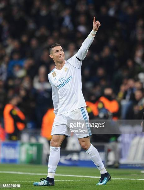 Cristiano Ronaldo of Real Madrid CF celebrates after scoring Real's 2nd goal during the UEFA Champions League group H match between Real Madrid and...