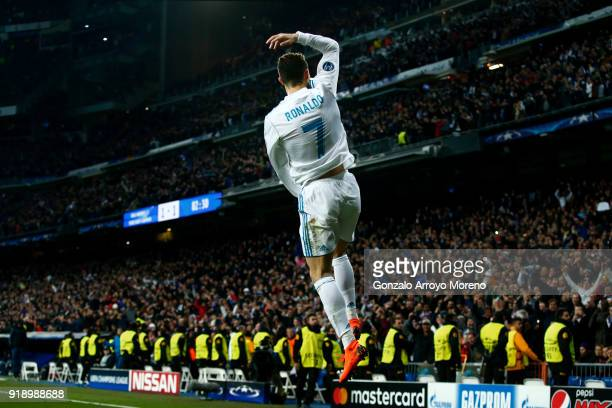 Cristiano Ronaldo of Real Madrid CF celebrates after scoring the second goal of his team during the UEFA Champions League Round of 16 First Leg match...