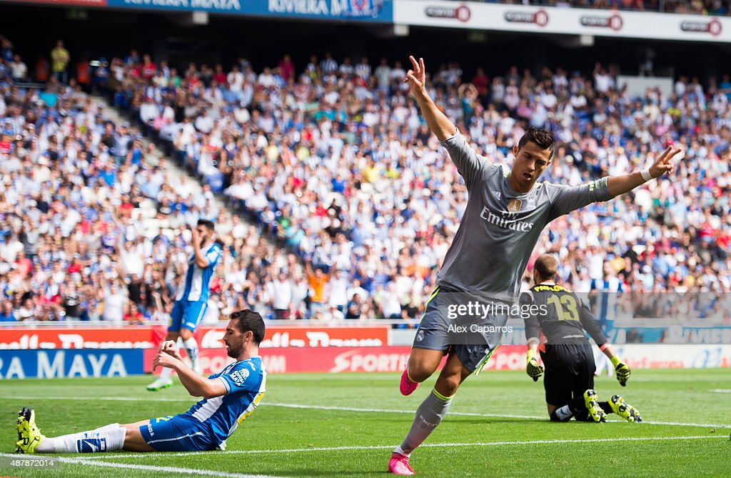 Cristiano Ronaldo of Real Madrid CF celebrates after scoring the opening goal during the La Liga match between RCD Espanyol and Real Madrid CF at Cornella-El Prat Stadium on September 12, 2015 in Barcelona, Spain.
