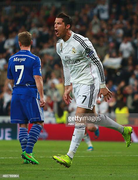 Cristiano Ronaldo of Real Madrid CF celebrates as he scores their first and equalising goal during the UEFA Champions League Round of 16 second leg...