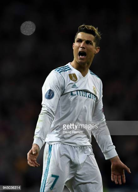 Cristiano Ronaldo of Real Madrid CF celebrates at the end of the UEFA Champions League Quarter Final scond leg match between Real Madrid and Juventus...