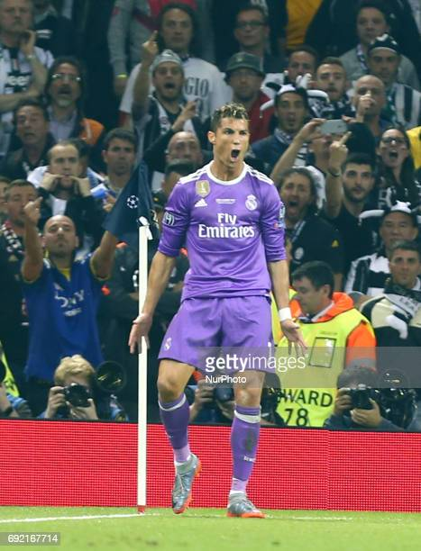 Cristiano Ronaldo of Real Madrid CF celebrates his goal during the UEFA Champions League Final match between Real Madrid and Juventus at National...