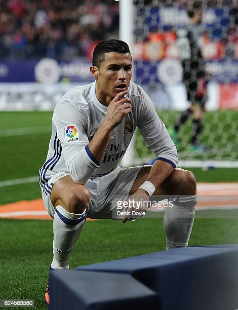 Cristiano Ronaldo of Real Madrid CF celebrates in front of a tv camera after scoring his 2nd goal against Club Atletico de Madrid at Vicente Calderon...