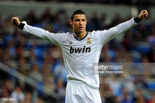 Cristiano Ronaldo of Real Madrid CF celebrates scoring his team's fifth goal during the La Liga match between Real Madrid CF and RC Deportivo La...