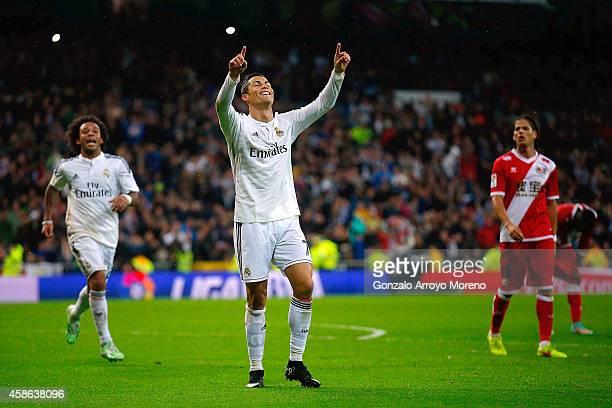 Cristiano Ronaldo of Real Madrid CF celebrates scoring their fifth goal during the La Liga match between Real Madrid CF and Rayo Vallecano de Madrid...