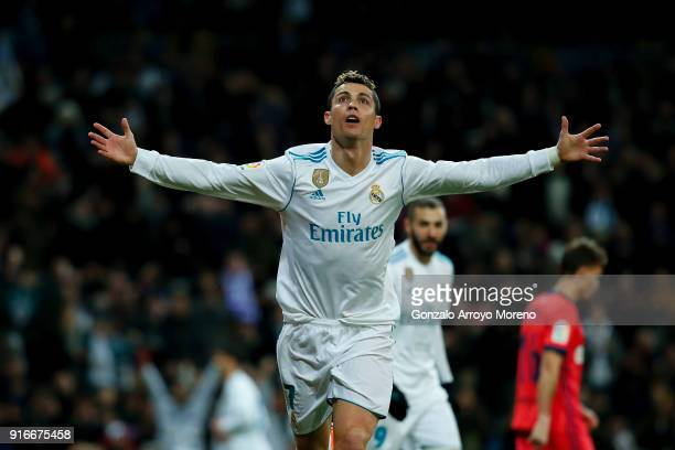 Cristiano Ronaldo of Real Madrid CF celebrates scoring their fourth goal during the La Liga match between Real Madrid CF and Real Sociedad de Futbol...