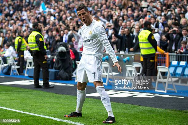 Cristiano Ronaldo of Real Madrid CF celebrates scoring their opening goal during the La Liga match between Real Madrid CF and Athletic Club at...