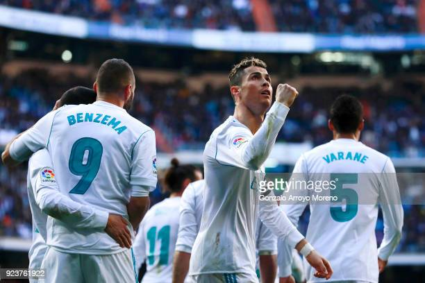Cristiano Ronaldo of Real Madrid CF celebrates scoring their opening goal during the La Liga match between Real Madrid CF and Deportivo Alaves at...
