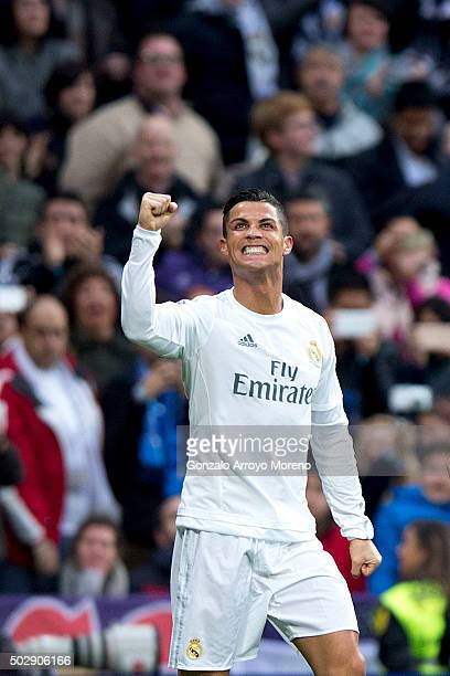 Cristiano Ronaldo of Real Madrid CF celebrates scoring their second goal during the La Liga match between Real Madrid CF and Real Sociedad de Futbol...