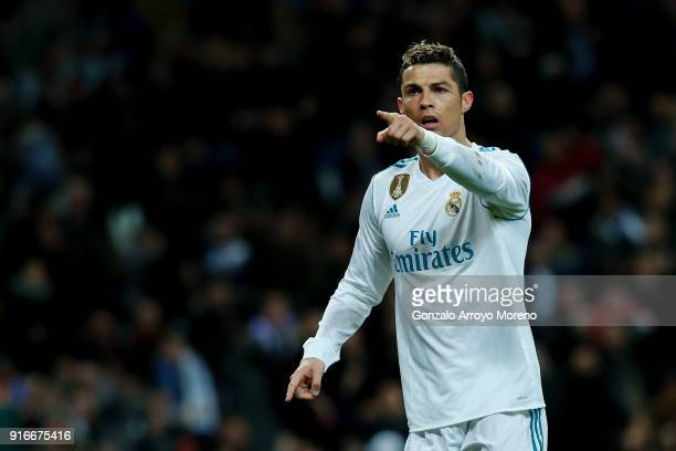 Cristiano Ronaldo of Real Madrid CF celebrates scoring their second goal during the La Liga match between Club Atletico Madrid and UD Las Palmas at...