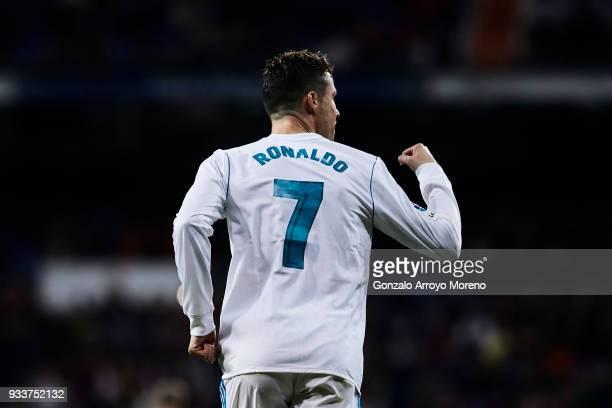 Cristiano Ronaldo of Real Madrid CF celebrates scoring their second goal during the La Liga match between Real Madrid CF and Girona FC at Estadio...