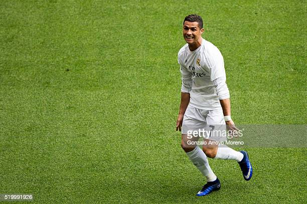 Cristiano Ronaldo of Real Madrid CF celebrates scoring their third goal during the La Liga match between Real Madrid CF and SD Eibar at Estadio...