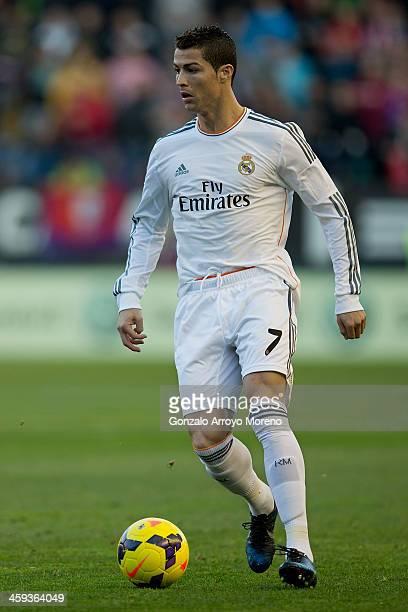 Cristiano Ronaldo of Real Madrid CF controls the ball during the La Liga match between CA Osasuna and Real Madrid CF at Estadio El Sadar de Navarra...