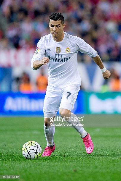 Cristiano Ronaldo of Real Madrid CF controls the ball during the La Liga match between Club Atletico de Madrid and Real Madrid CF at Vicente Calderon...