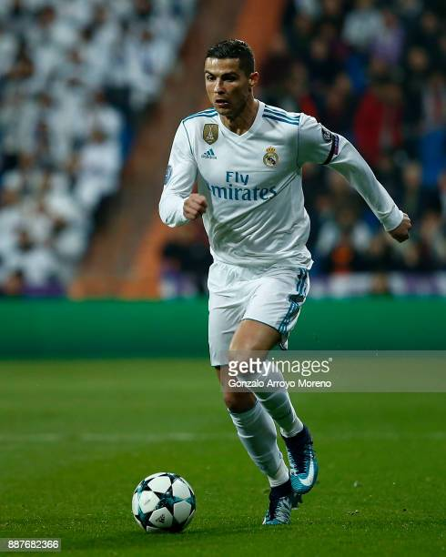 Cristiano Ronaldo of Real Madrid CF controls the ball during the UEFA Champions League group H match between Real Madrid and Borussia Dortmund at...