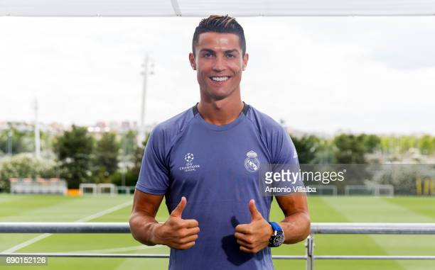 Cristiano Ronaldo of Real Madrid CF during a tv interview at the Real Madrid UEFA Open Media Day at Valdebebas training ground on May 30 2017 in...