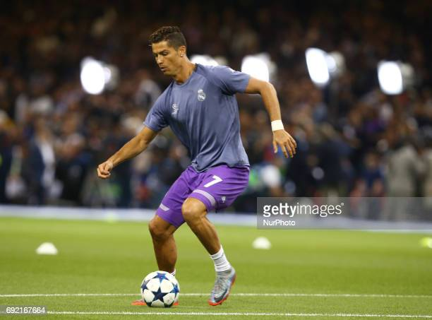 Cristiano Ronaldo of Real Madrid CF during the prematch warmup during the UEFA Champions League Final match between Real Madrid and Juventus at...