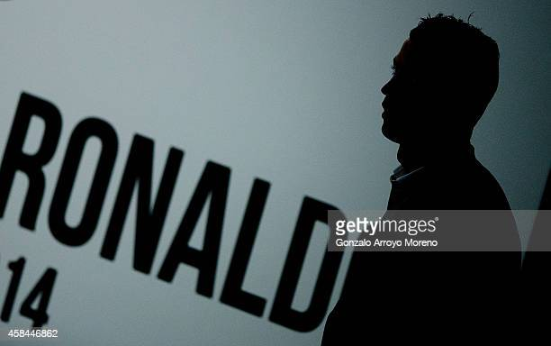 Cristiano Ronaldo of Real Madrid CF enters to a press conference held after receiving the Golden Boot award at Melia Castilla hotel on November 5...