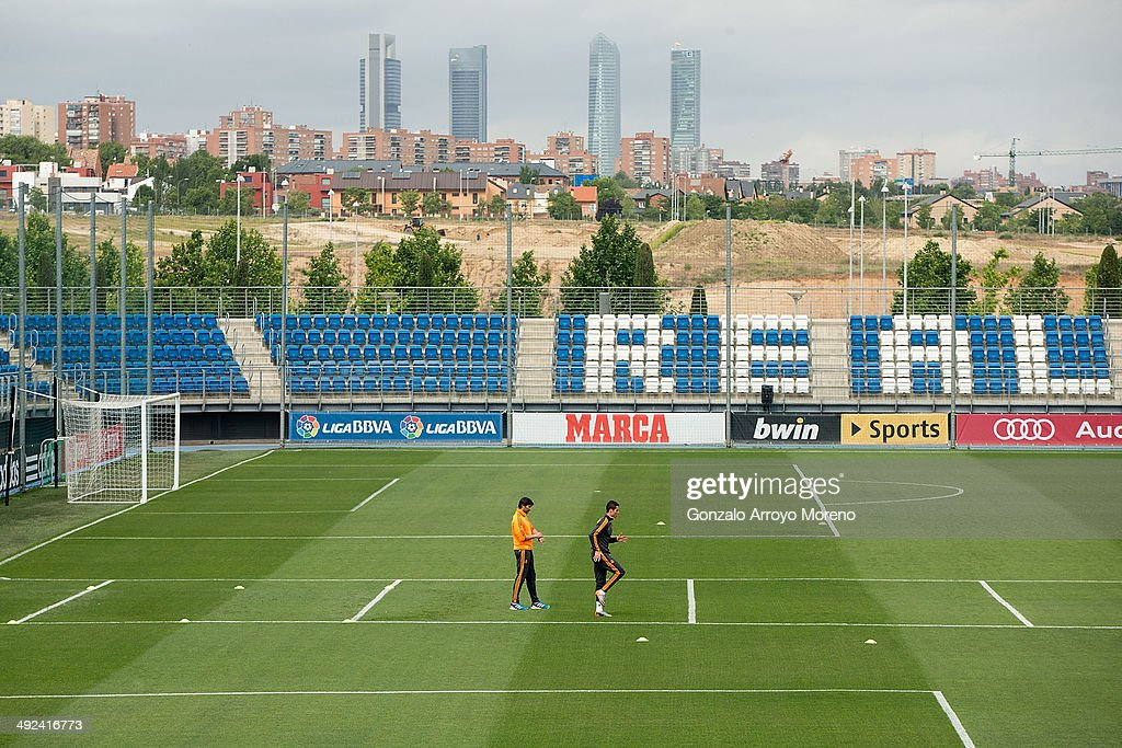 Cristiano Ronaldo of Real Madrid CF excersises without his team-mates during a training session pn the Real Madrid media day, ahead of the UEFA Champions League final against Club Atletico de Madrid, at Valdebebas Sport City on May 20, 2014 in Madrid, Spain.