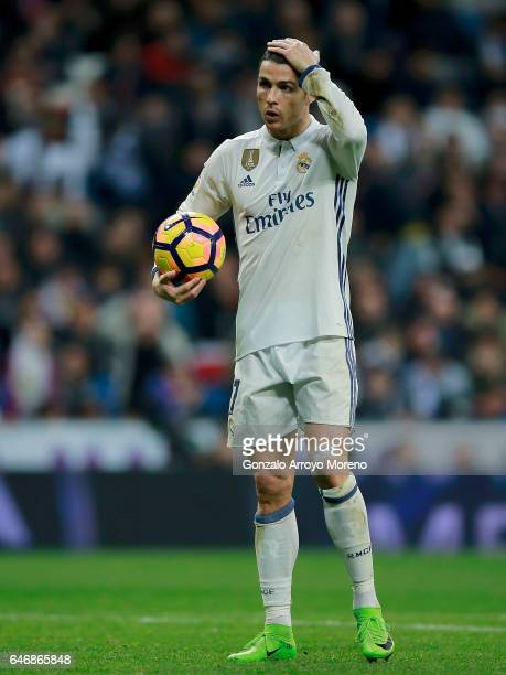Cristiano Ronaldo of Real Madrid CF gestures before shooting a penalty shot during the La Liga match between Real Madrid CF and UD Las Palmas at...