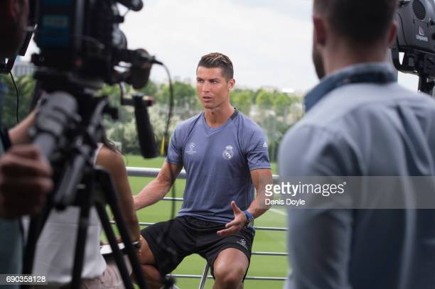 Cristiano Ronaldo of Real Madrid CF gives an interview at the Real Madrid UEFA Open Media Day at Valdebebas training ground on May 30 2017 in Madrid...